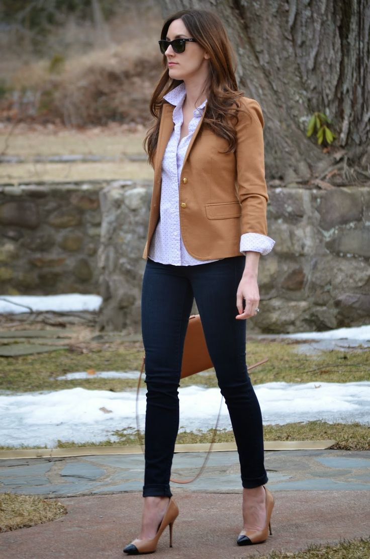 Blazer: J.Crew ~ on sale! , Top: J.Crew (old, similar here , here ), Jeans: J Brand , Bag: Forever 21 (old, similar here for unde...