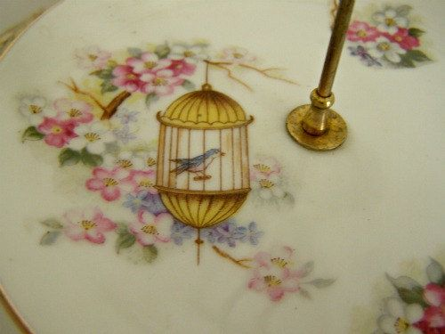 Vintage Enesco Tiered Server With Birds-Wedding by JuneandRuby
