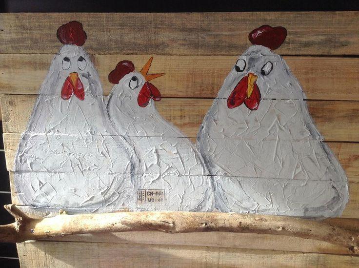 Kunst op hout, kippen!