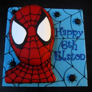Spiderman Cake. Do this with 2 cakes