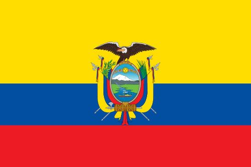 The current flag of Ecuador was officially adopted on September 26, 1860.           The red, green and blue are the colors of Francisco de Miranda, the South American revolutionist and adventurer. Yellow is the color of the federation, red is said to indicate courage and blue symbolizes independence from Spain. The centered coat of arms is topped with a condor.