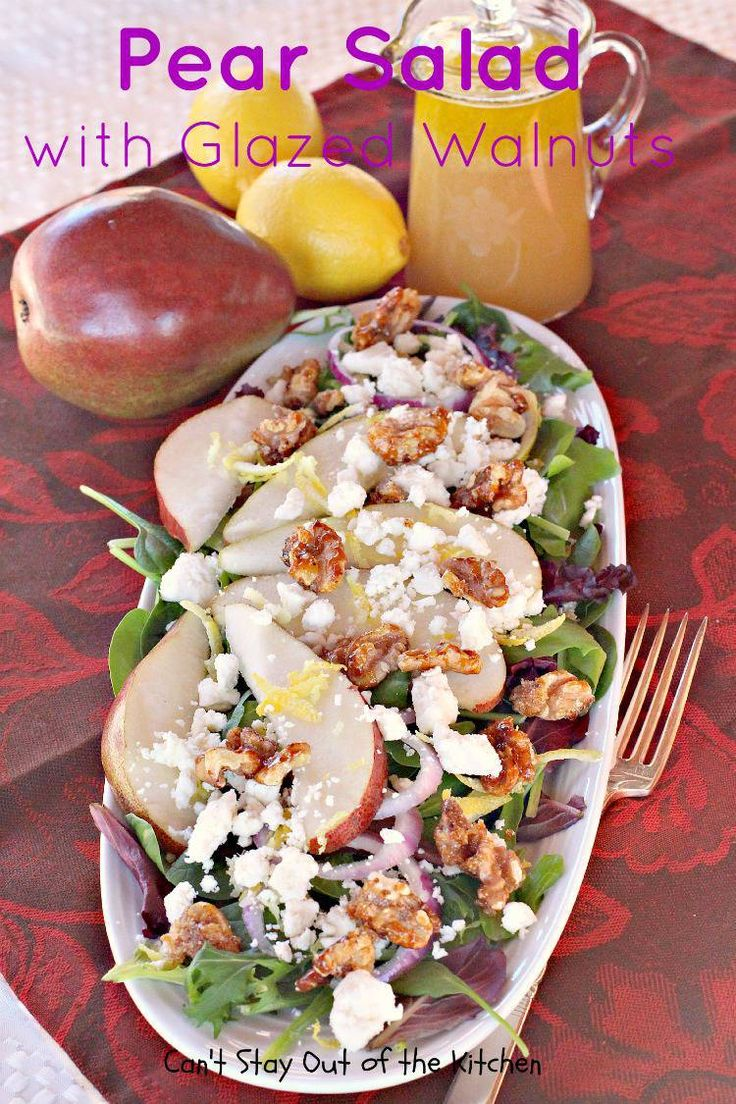 Exotic spring mix salad with red onion rings, lemon peel, feta or goat cheese, candied walnuts and pear slices with a lemony vinaigrette. Gluten free.