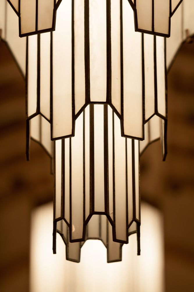"""Art Deco Hanging Lamp. """"Everytime, I seen a Art Deco. I'm in love. Like falling in love with a sharp, well dressed man."""" -Octivia """"Sounds like me.""""-Jeffery spoke to himself."""