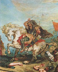 Attila suivi de ses hordes barbares foule aux pieds l'Italie et les Arts (détail), Eugène Delacroix, 1847