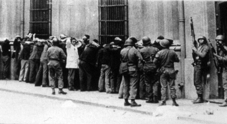 General Augusto Pinochet's Fascist death squads roundng up Chilean civilians on the streets of Santiago before deporting them to concentration camps immediately after the CIA-backed coup d'etat of 1973 which overthrew and killed the democratically-elected President of Chile, Salvador Allende.