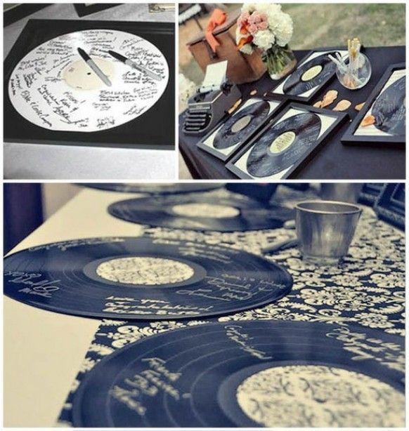 Des disques de 33 tours en guise de livre d'or pour un mariage sur le thème du Rockabilly