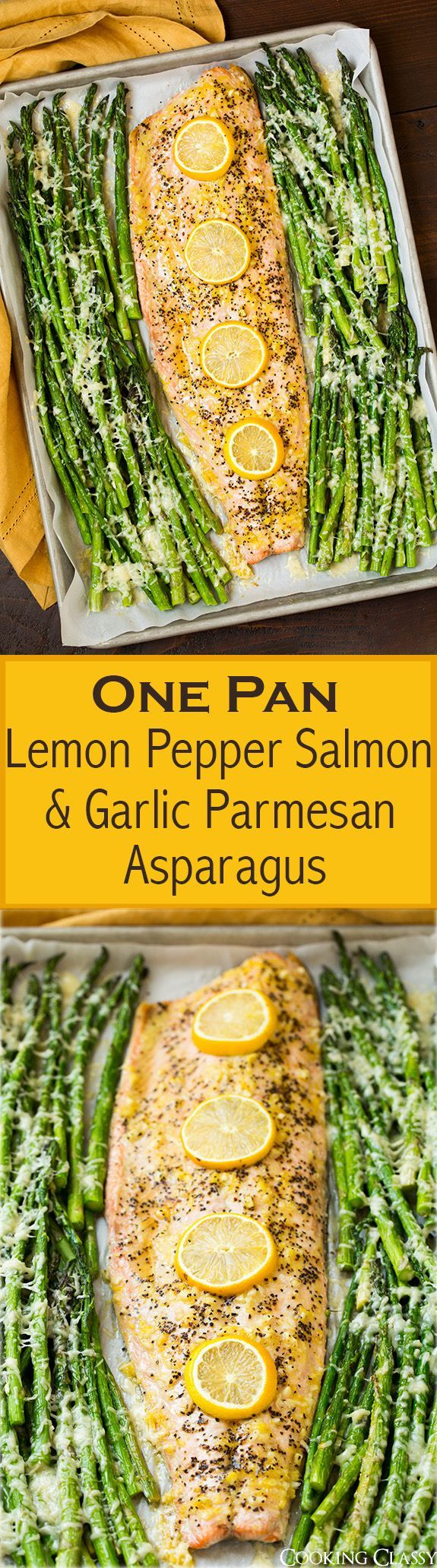 One Pan Roasted Lemon Pepper Salmon and Garlic Parmesan Asparagus - This is so easy to make and the flavor combo of the two is delicious!