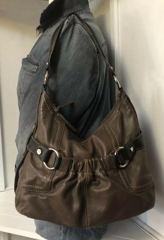 Black Trim Leather Hobo Bag Purse