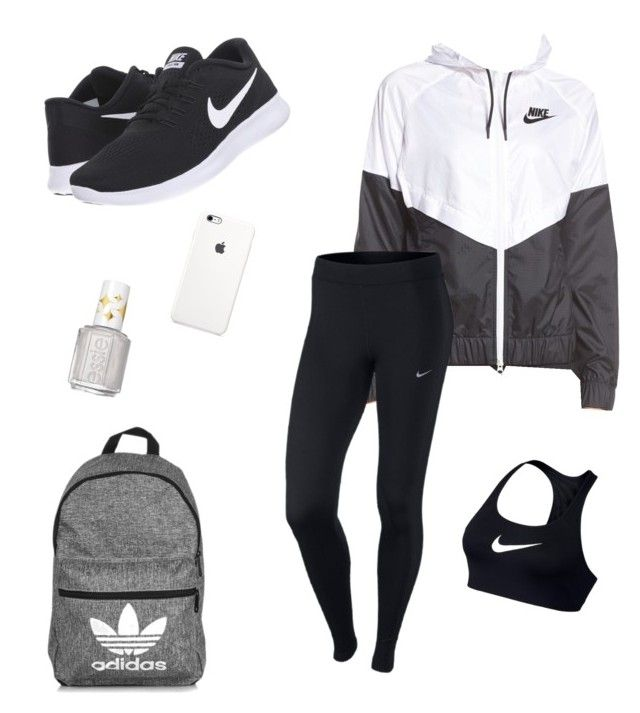 """School Clothes #13"" by lily141 on Polyvore featuring NIKE, adidas and Essie"