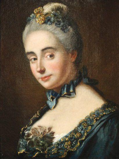 Marianne LOIR (attribué à) (Paris, vers 1715-1769) Portrait de femme en buste