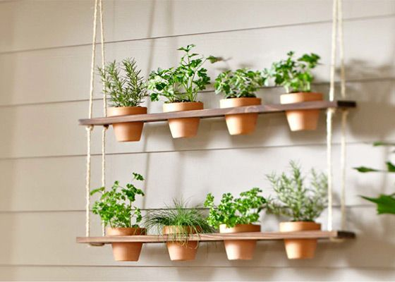 Think of it as a porch swing for your herbs, a kitchen garden just outside the screen door. The Hanging Herb Garden Planter comes together in just a couple of hours. Check out the step-by-step instructions and video on The Home Depot's Garden Club pages.