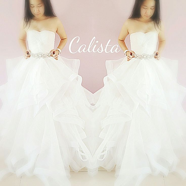 Layered wedding gown with Swarovski belt