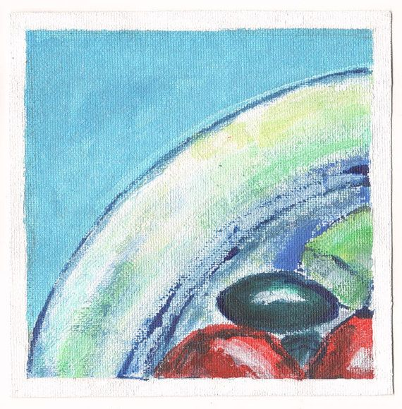 Greek Salad is a set of three individual original paintings created to work together as a set.    Inspired by summertime salads in Greece - the