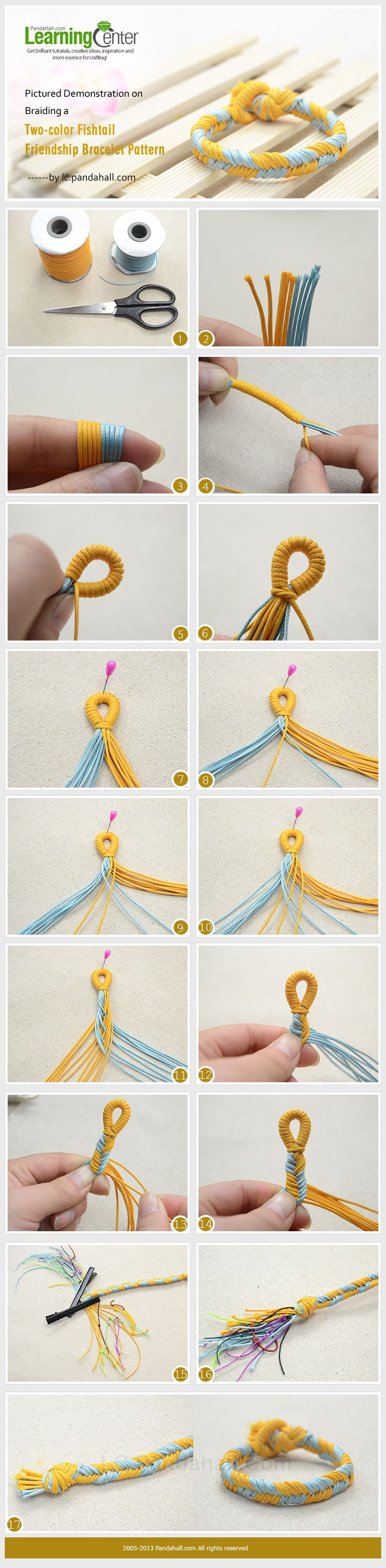 Pictured Demonstration on Braiding a Two-color Fishtail Friendship Bracelet Pattern
