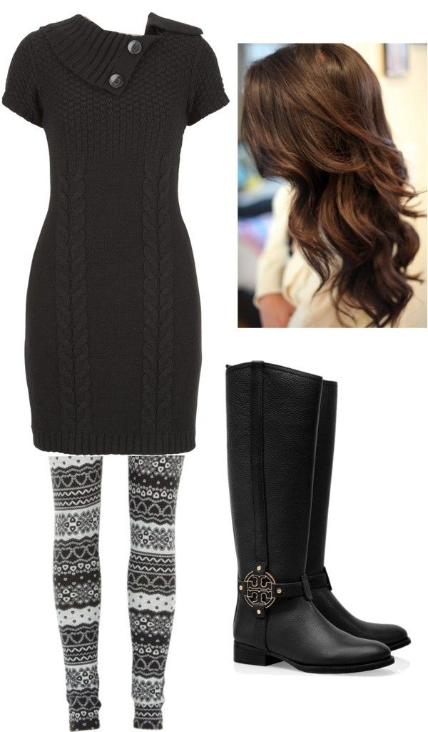 Sweater Dress With Printed Leggings And Warm For A Cold Winter