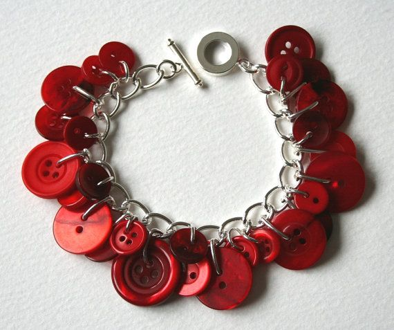 Red button bracelet.