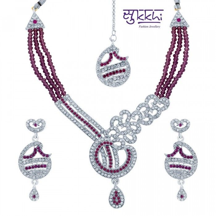 Fabulous Magenta Rodium Plated AD Stone Necklace Set | High5Store.com