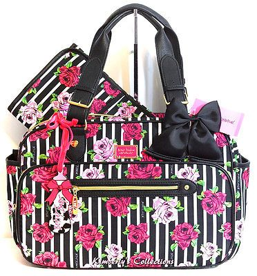 diaper bags designer cheap 56il  Betsey Johnson Pink Rose Stripe Weekender Baby Diaper Bag Travel Tote NWT