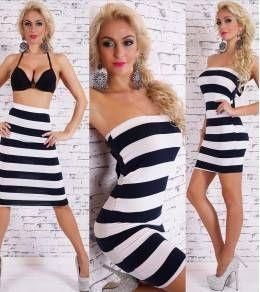 Εφαρμοστό μίνι φόρεμα- μίντι φουστα ριγέ