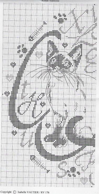 Calligraphy cat xstitch patt 2 of 3