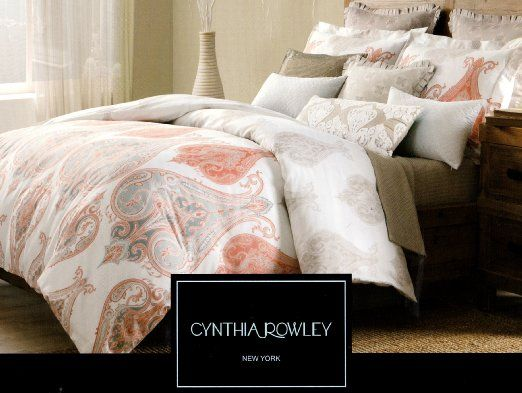 Cynthia Rowley Full Queen Size Duvet Cover Set Paisley