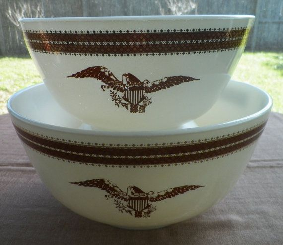 Federal Eagle Pyrex Set of Two Bowls by OldSowellShop on Etsy