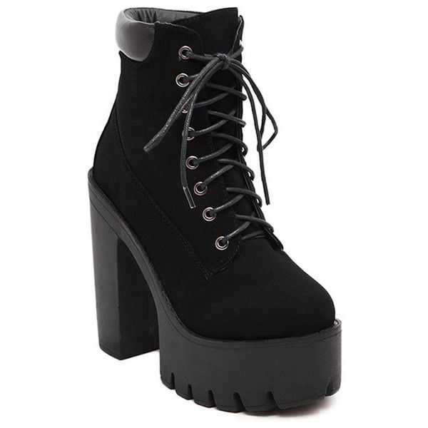 Lace-Up Black Round Toe Short Boots ($99) ❤ liked on Polyvore featuring shoes, boots, ankle booties, black bootie, short boots, black boots, lace up ankle booties and lace up ankle boots