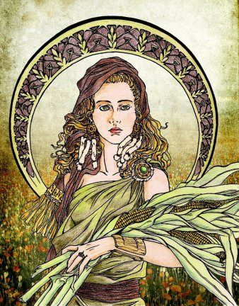 """I am Ceres and have long been a Roman goddess. My domain is grain and agriculture. I am often seen with a basket of fruit or ears of corn. Lindermans, Micha F. """"Encyclopedia Mythica."""" : Roman Mythology. N.p., n.d. Web. 17 Apr. 2015. <http://www.pantheon.org/areas/mythology/europe/roman/articles.html>."""