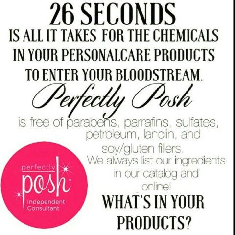 Do you know what's in your favorite skin care items? Perfectly Posh is free of parabens, parrafins, sulfates, petroleum, lanolin, and soy/gluten fillers. These are just a few of the reasons why I made the switch, and love Perfectly Posh!   #posh #perfectlyposh #ohmyposh