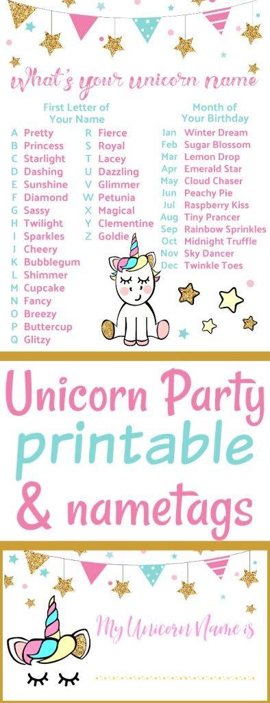 Unicorn Party Name Game