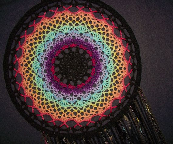 Extra-large 100cm arcobaleno mandala dreamcatcher unico sogno catcher camera da letto arredamento zingara attaccatura di parete boho hippy matrimonio nero multi colore