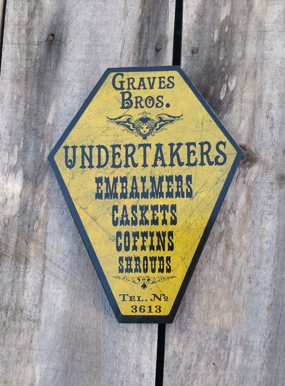 GRAVES BROTHERS Coffin Shaped Victorian Funeral Sign by Fringe Walkers Studio. Halloween decoration, coffin, wall hanging