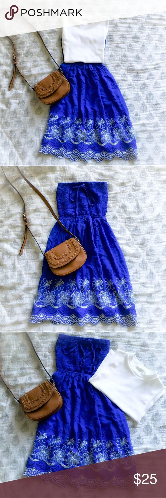 Royal Blue and White Scalloped Embroidered Dress Gorgeous royal blue dress. Tube Top with straps so you can wear it as a halter as well! You can fold the tube top down, pair it with a top and wear it as a skirt! Wear it over your bikini and pair with sandals for a casual look at the beach, or pair with heels for a girls' night out. Beach by Exist Dresses