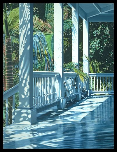"""Patrick's Porch, 1990, Oil on Canvas, 78x60"""" This image makes me smile every day. By Alice Dalton Brown."""