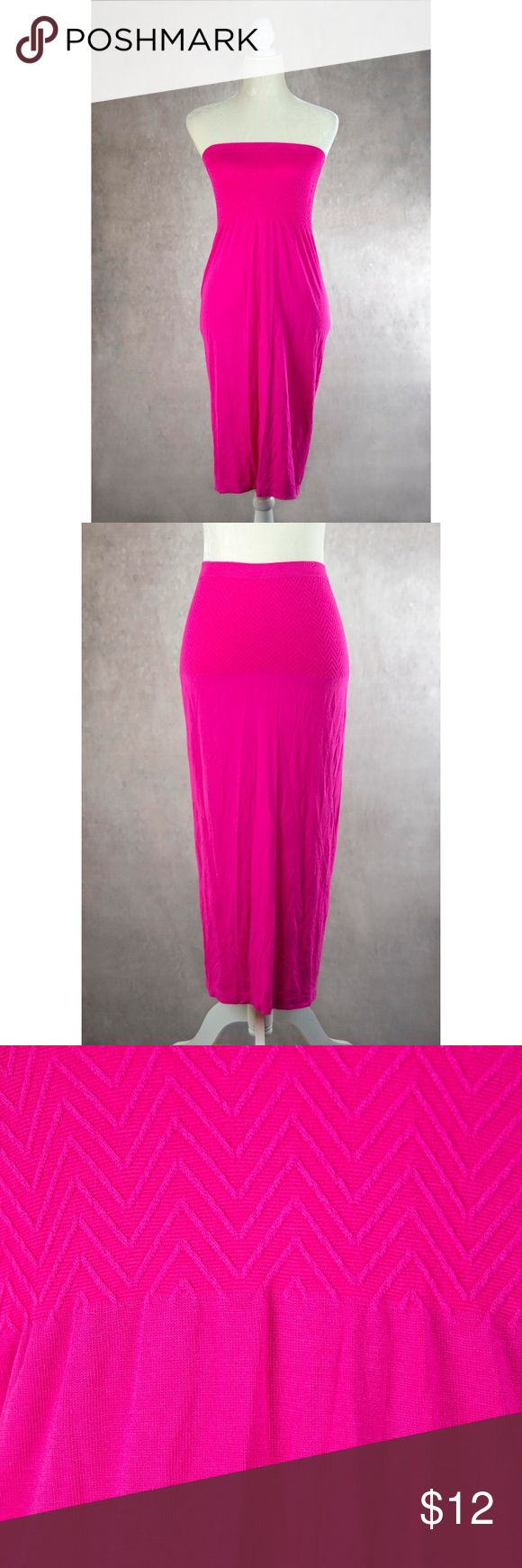 "Cristina Love Fuchsia Tube Dress S Wear this fuchsia stretchy knit piece as a strapless dress pulled up around the chest or as a maxi skirt worn at the waist. The tag says ""one size"" but would best fit a size small or medium. Dress laying flat measures approx. 32"" long, 14""-18"" across waist, 11""-15"" across chest, and 19""-22"" across hip. New without tags. Cristina Love Dresses Strapless"