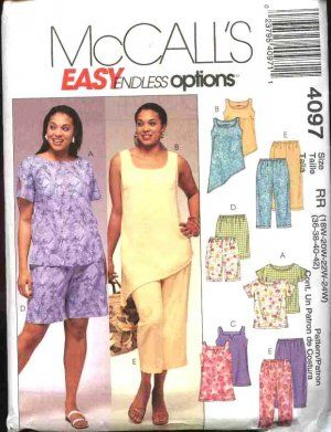 McCall's Sewing Pattern 4097 Womans Plus Size 26W-32W Easy Summer Wardrobe Tops Pants Shorts. Also available in sizes 18W-24W. Misses size McCall's 4099.