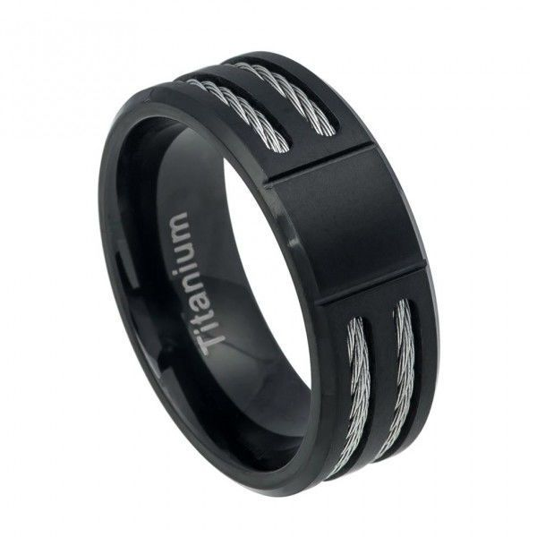 Men's Black Titanium Wedding Band Ring with Cable Inlay