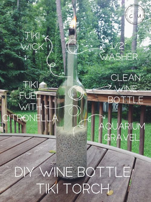 DIY Tiki Torches • Lots of Ideas and Tutorials! Including from 'cody uncorked' this great graphic on how to make wine bottle tiki torches.