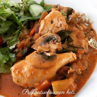 Pullantuoksuinen koti: Broileria Herkkusieni-kasviskastikkeessa. Chicken in Mushroom-veggiesauce.
