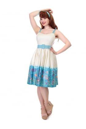 Jade Seashell Border Swing Dress