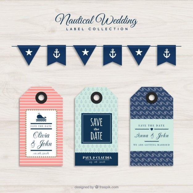 Nautical wedding labels collection Free Vector