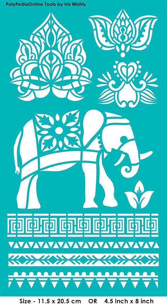 "Stencil Stencils Templates ""Elephant, Lotus, Thailand"", self-adhesive, flexible…"