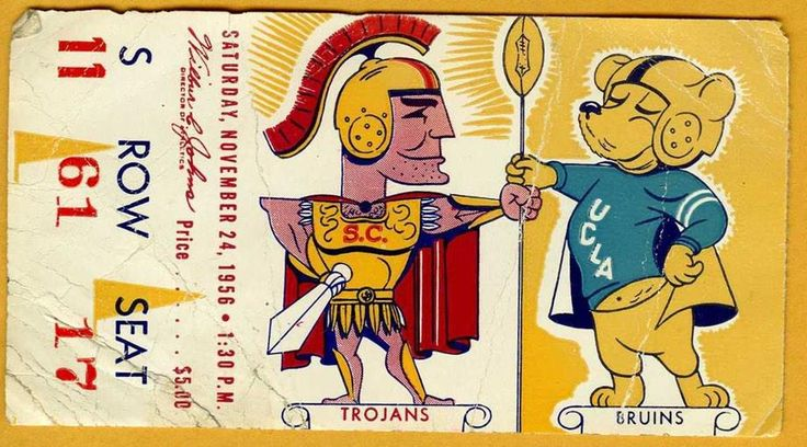 """""""@RedditCFB: Ticket from '56 USC-UCLA game—back when both called the Coliseum home #USCvsUCLA """" @PhilHecken @UniWatch"""