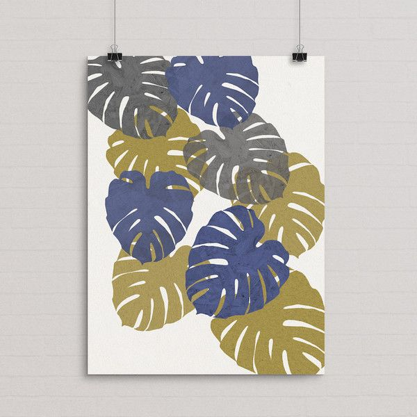 Beautiful leaves in a tumbling collage with layers of texture.Size 50cm x 70cm - Printed on 170gsm FSC Eco paper with vegetable inks for a long lasting print.(Frame not supplied). #monstera #print #decor #seventytree