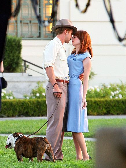 How I wish they were a real couple! Ryan Gosling and Emma Stone filming The Gangster Squad