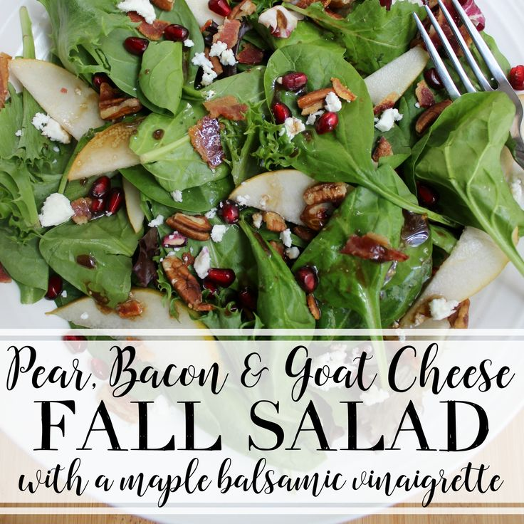 Make this mixed greens salad filled with fall flavors, including pears, bacon, pecans, pomegranate, and goat cheese—all tied together with a homemade maple balsamic vinaigrette. Happy week of Thanksgiving!!! I'm more than ready for this holiday season, and what better way to jump right in than with a week of food, people, and giving thanks?...Read More »