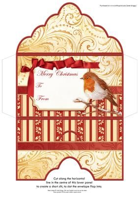 CHRISTMAS ROBIN Christmas Money Wallet Envelope on Craftsuprint designed by Janet Briggs - Christmas money wallet money envelope or gift voucher holder, featuring a lovely robin.Sentiment tag on the front reads Merry Christmas and includes space for a To and From message.Choose whether to just fold the side flaps over, or glue for a sealed envelope. Cut a horizontal slit where shown on the back, to create a slit for the envelope flap. - Now available for download!
