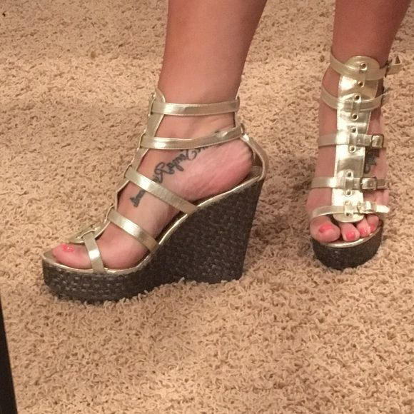 Listing Steve Madden Gladiator Wedges Pre-loved. Some wear and tear on inner of the straps. Comfy shoes! Steve Madden Shoes Wedges