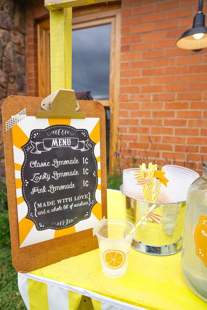 Chalkboard lemonade stand sign from a Backyard Carnival Party on Kara's Party Ideas | KarasPartyIdeas.com (24)