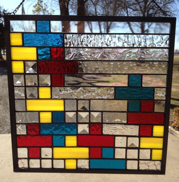 Contemporary Stained Glass Panel  Colorful by PeaceLuvGlass, $90.00